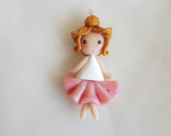 Necklace pink glitter tutu ballerina doll