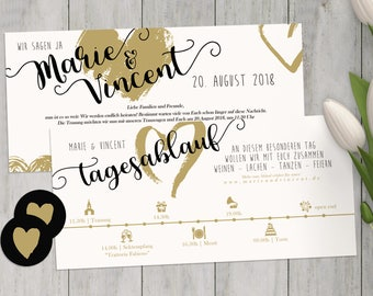 Wedding invitation | Black and gold | Schedule
