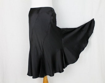 Vintage Cami International 100% Silk Bias Cut Skirt Below the Knee Black Gored 4 NEW Condition
