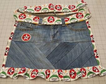 Apron - Cola pattern repurposed denim apron.