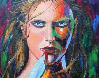Modern art, Woman, Acrylic painting on canvas, Giclee print - Revenge