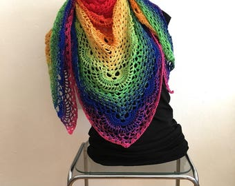 Crochet triangle shawl, scarf, Sommerschal, hip-20%
