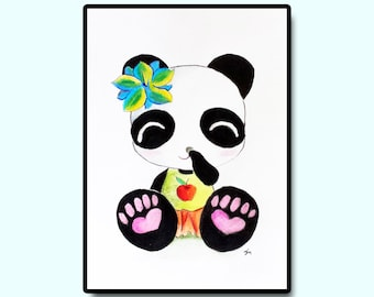 "Girl Nursery Art, Kids Room Art, Children's Wall Art, Animal Nursery Art, Original Nursery Art, Giggled Panda Baby, 5""x7"""