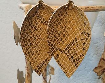 vegan leather snake print pinched teardrop earrings