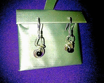 Fine Silver and Carbon Crystal Dangling Drop Earrings