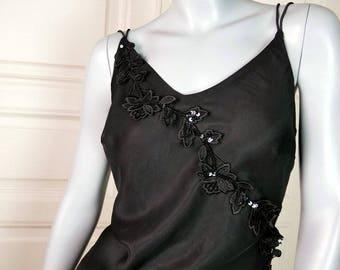 German Vintage Black Evening Dress, Elegant Black Evening Gown, Sleeveless Party Dress, Long Black Dress Floral Sash: Size 8/10 US, 12/14 UK