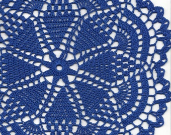 Crochet Doily Lace doilies Table decoration Crocheted Doilies Centerpiece Hand Made Wedding Napkin Boho Bohemian Decor Round Royal Blue