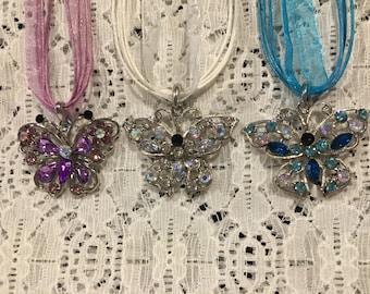 Crystal Butterfly Necklace Pendant Set