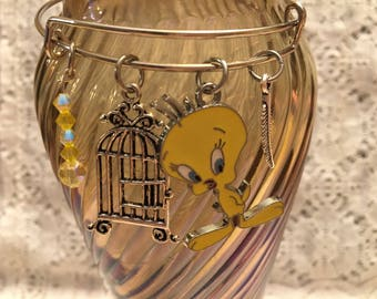 Tweety Bird Charm Bangle Bracelet