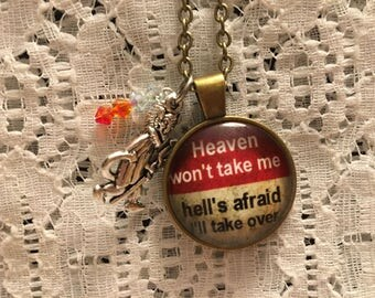 Heaven and Hell Glass Pendant Charm Necklace/Mischief Necklace/Up to No Good Necklace