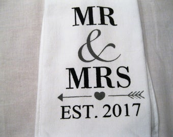 Mr & Mrs Est 2017 Hanging  Towel for Kitchen or Bathroom--Fabric Tab or Crochet Top; Engagement, Wedding, Anniversary gift, bridal shower