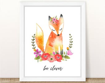 PRINTABLE Girl Fox Nursery Art Print, Fox Art Print Girl, Floral Fox Nursery, Woodland Girl Nursery, Girl Pink Fox Wall Art, Be Clever Fox