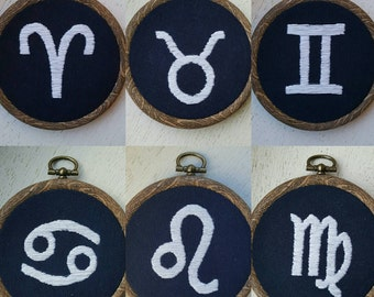 Hand Embroidered Star Sign & Horoscope Symbols - 3 inch hoops - Custom Made Astrology Zodiac Signs - Wall Art - Birthday Gifts
