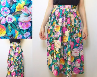 May the Florals Be With You Skirt • Floral Skirt • Worthinton Skirt • Midi Skirt • 1980s Skirt