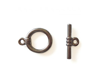 Gunmetal Toggle Clasps • 14x18mm • 2 Sets • CP_020_GM