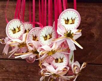 12)princess crown baby shower pacifier/princess crown baby shower party necklace game/princess crown baby shower favor/princess baby shower