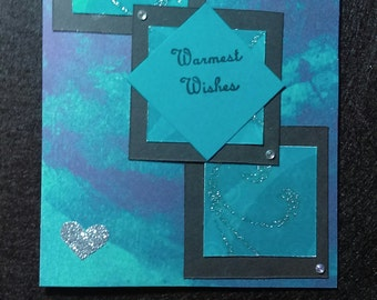 Handmade Warmest Wishes card and envelope