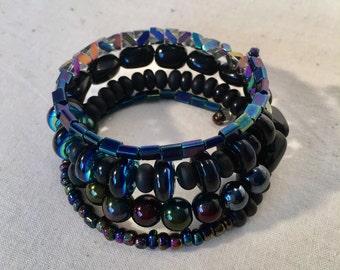 Stunning Iridescent Memory Wire Bracelet
