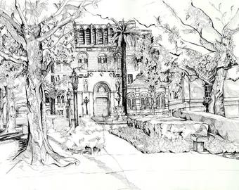 "USC Study #1 (Doheny Library) (18"" x 24"" Pen)"