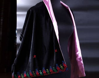 black velvet shawl with palestinian embtoidery and pink lining
