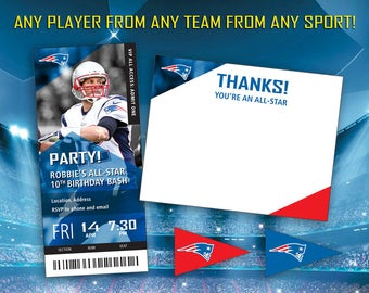 Custom NFL Football Birthday Party Invitation Package (Invite/Thank You Cards)