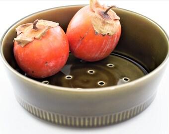 Vintage porcelain colander for fruits and vegetables, dark olive green