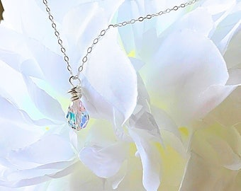 Swarovski Teardrop Crystal on Sterling Silver Necklace