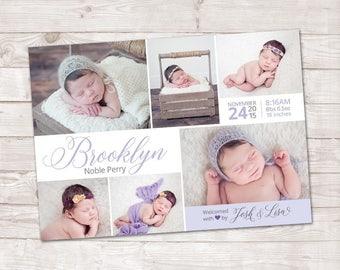 Birth Announcement, Photo Birth Announcement, Baby Boy, Baby Girl, It's a girl, It's a boy, New Baby Announcement, multi photo Announcement