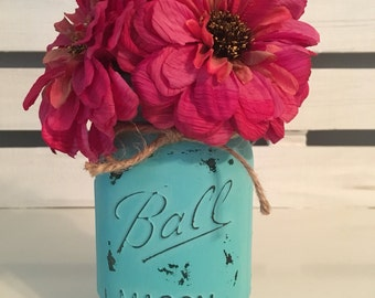 Painted and Distressed Mason Jar Flower Arrangement, 16 oz