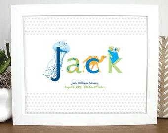 Personalized Baby Name Animal Wall Art, Printable, Nursery, Kids Art, Baby Gift, Pink Purple Baby Art, Baby Shower Gift, Baby Welcome Gift,