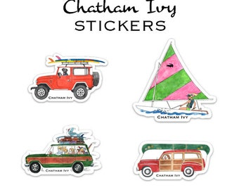 Chatham Ivy Small Stickers - Wagoneer - Land Cruiser - Sailboat -Woody Wagon - Preppy Stickers