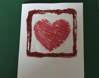 Hand painted silk love heart card