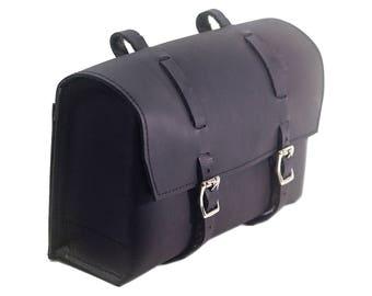 XL Natural Leather Bicycle Bag Saddle Handlebar