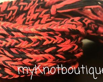 New! HANDMADE! Red & Black fishtail braid friendship bracelet