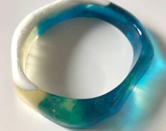 Resin Geometric Bangle - Blue Glass