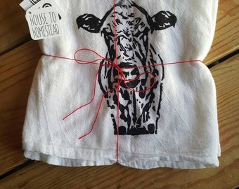 Charolais Cow Flour Sack Tea Towel