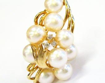 Pearl & Diamond Cluster Ring 14K Gold - X3262