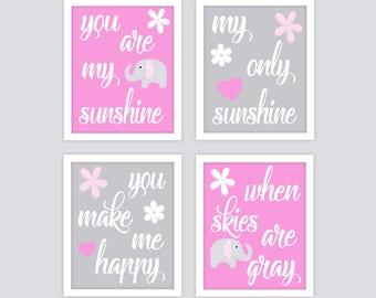 You are my Sunshine Elephant Nursery Art