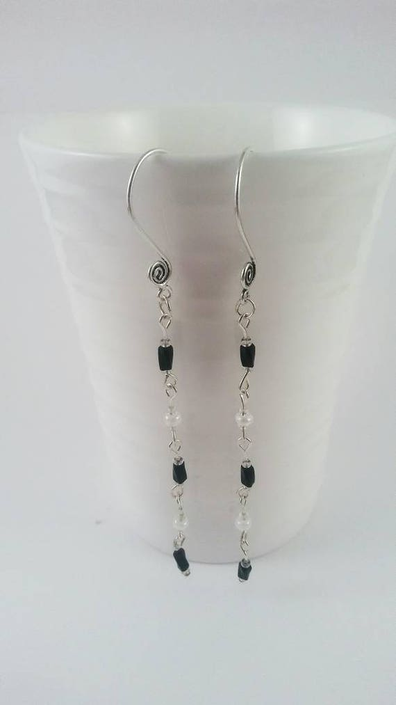 Dangle earrings, long dangle earrings, black and white earrings, black and white jewelry, nickle free earrings, gift for her, birthday gift