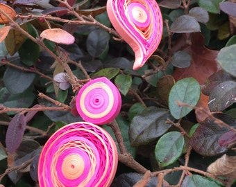 Handmade Paper Quilled Earrings - Pink & Peach