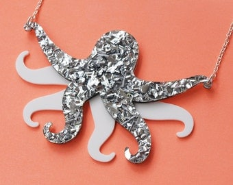 Octopus Necklace in Silver Glitter and White Acrylic - Reversible