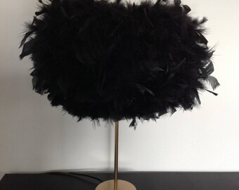 Black feather boudoir table lamp with gold base