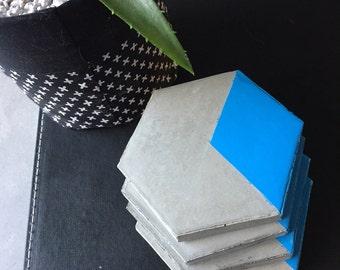 Handmade Gloss blue & natural concrete coasters