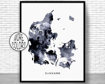 Denmark Print, Watercolor Map, Denmark Map Art, Map Painting, Map Artwork, Country Art, Office Decorations, Country Map Art Print Zone