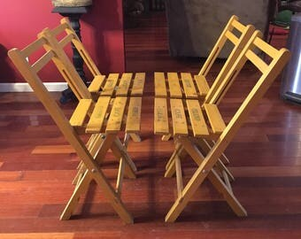 Vintage wood folding patio chairs set of 4 grand cafe paris golden yellow