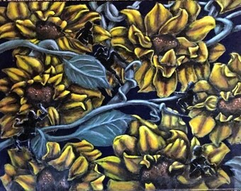 ORIGINAL 16x20 Sunflower wall art