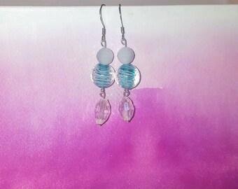 Teal white striped earrings