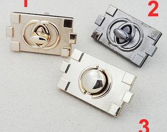 2 Pcs  Bag Handbag Clutch Clock Metal Craft Case Clasp Suitcase Turn Lock Fastener Twist-Lock Crossbody Purse Belt Twist Catch Lock Closure