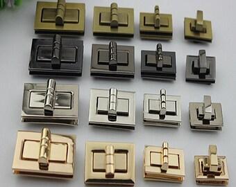 1pcs Large Purse lock gold silver brass Gun twist purse turn lock clutch clock Turn Lock Fastner,Purse bag handbag Latch hardware