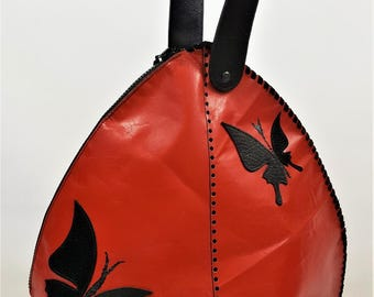 Red Genuine Leather Handbag Butterflies